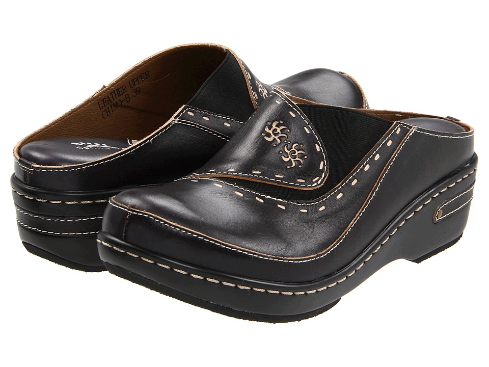Spring Step Chino Black Womens Clog Shoes