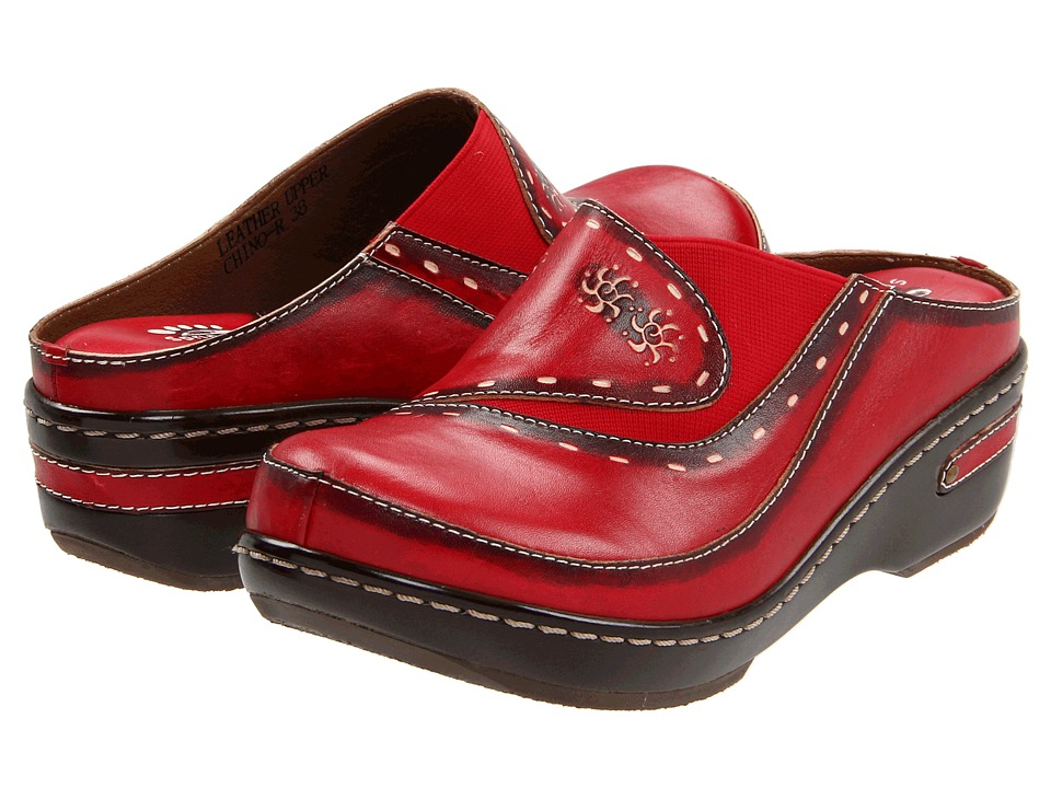 Spring Step Chino Red Womens Clog Shoes