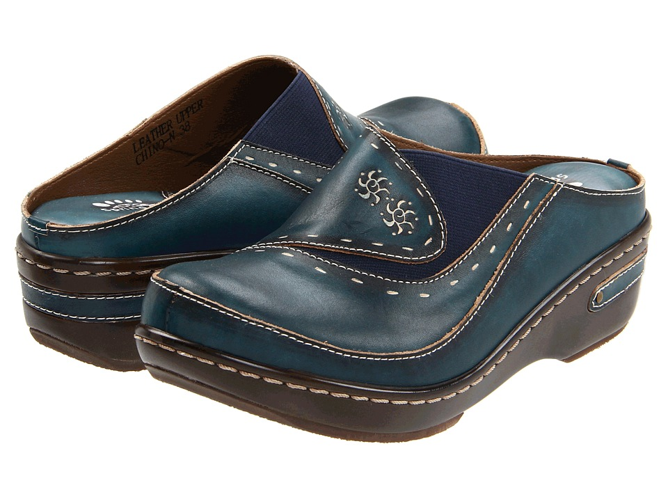 Spring Step Chino Blue Womens Clog Shoes