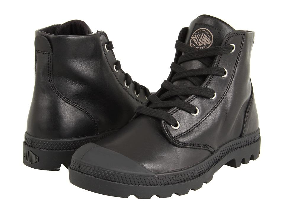 Palladium Pampa Hi Leather Black Womens Lace up Boots
