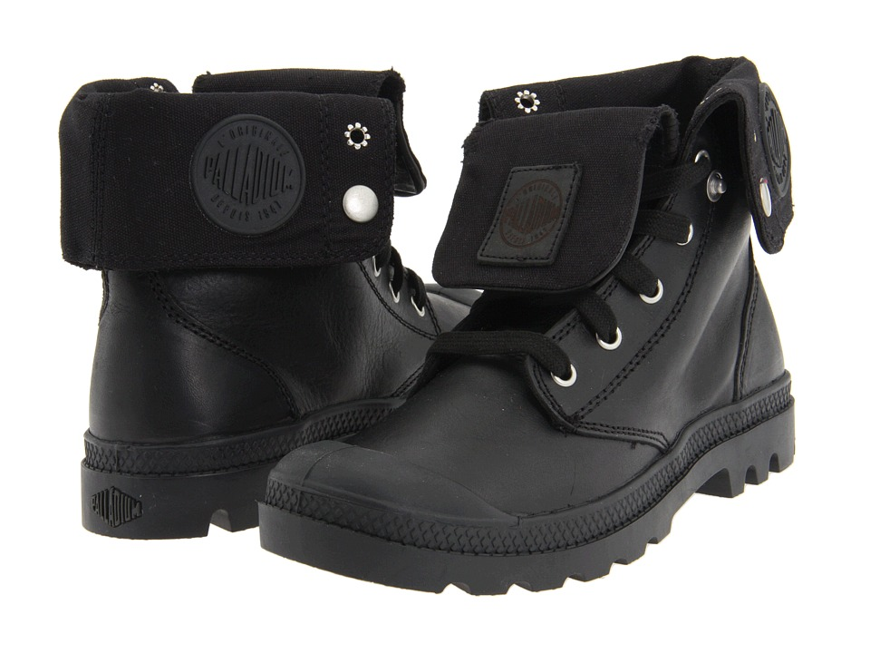 Palladium Baggy Leather Black Womens Lace up Boots