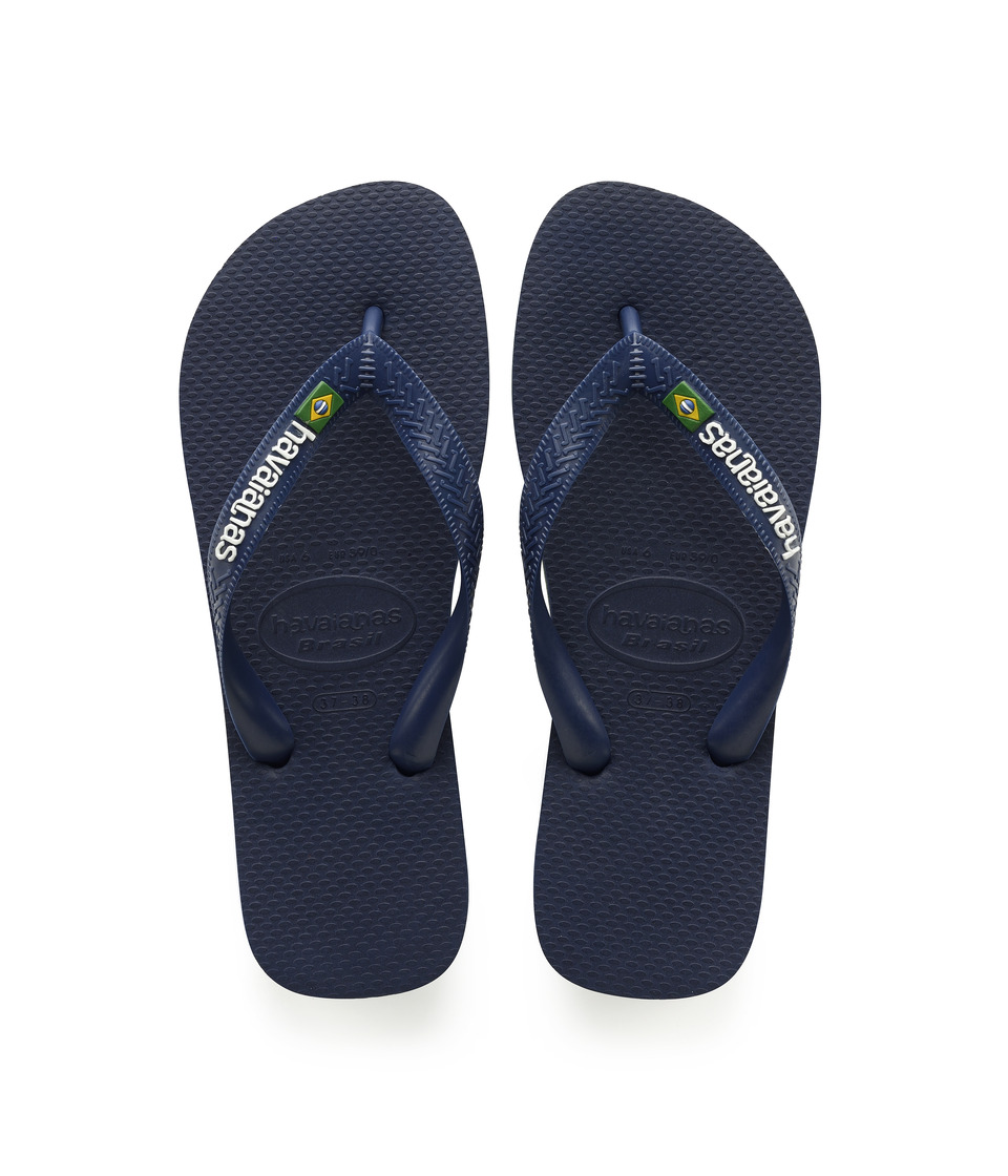 Havaianas Kids Brazil Logo Flip Flops (Toddler/Little Kid/Big Kid) (Navy Blue) Kid's Shoes