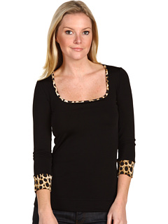 Just Cavalli Jersey Top With Leopard Trim