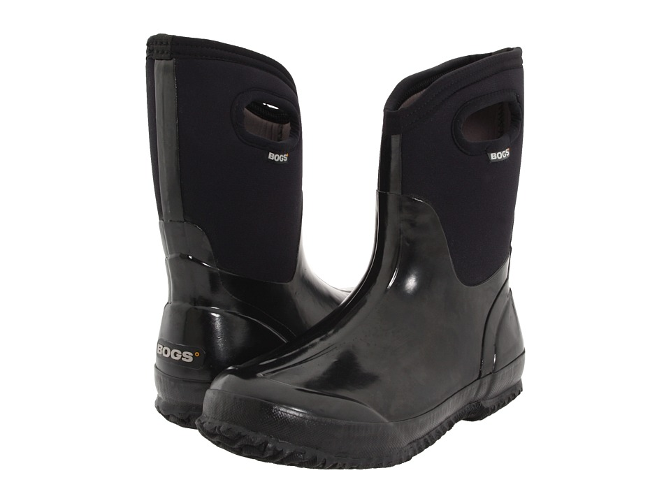Bogs Classic Mid Handle (Black Shiny) Women