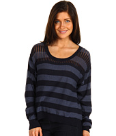 DKNY Jeans Petite - Petite Striped Pointelle Sweater