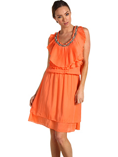 Robbi & Nikki Beaded Pleat Ruffle Dress Coral  :  robbi nikki womens dress womens dress