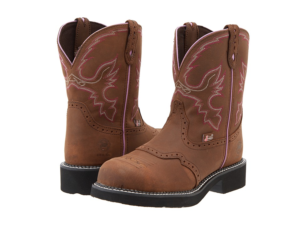 Justin - Wanette Steel Toe (Aged Bark) Cowboy Boots
