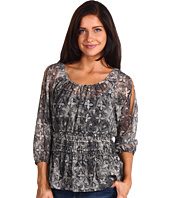 DKNY Jeans Petite - Petite Diamond Printed Cold Shoulder Top