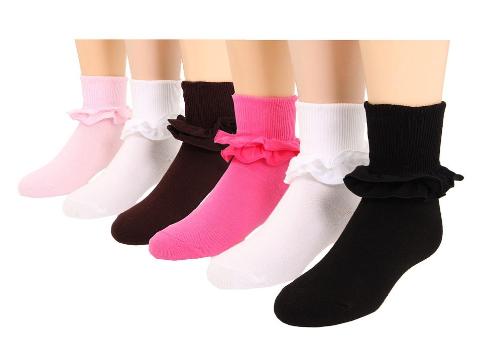Jefferies Socks Misty 6 Pack Toddler/Little Kid/Big Kid Pink/Black/Chocolate/White/White/Bubblegum Girls Shoes
