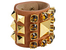 Vince Camuto - Jessie Pyramid Studded Bracelet (Gold/Chestnut Leather) - Jewelry