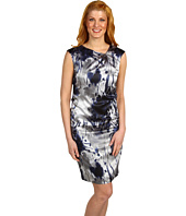 Jones New York - Floral Asymmetrical Neckline Dress