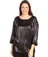 DKNYC - Plus Size Sequin 3/4 Sleeve Boatneck Top