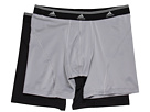 adidas - Sport Performance ClimaLite 2-Pack Boxer Brief (Aluminum 2/Black) - Apparel