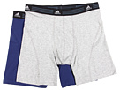 adidas - Athletic Stretch 2-Pack Boxer Brief (Heather Grey/New Navy)