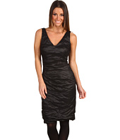 Nicole Miller - V-Neck Tucked Techno Metal Dress
