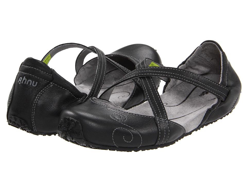 Ahnu Karma Black Nappa Leather Womens Flat Shoes