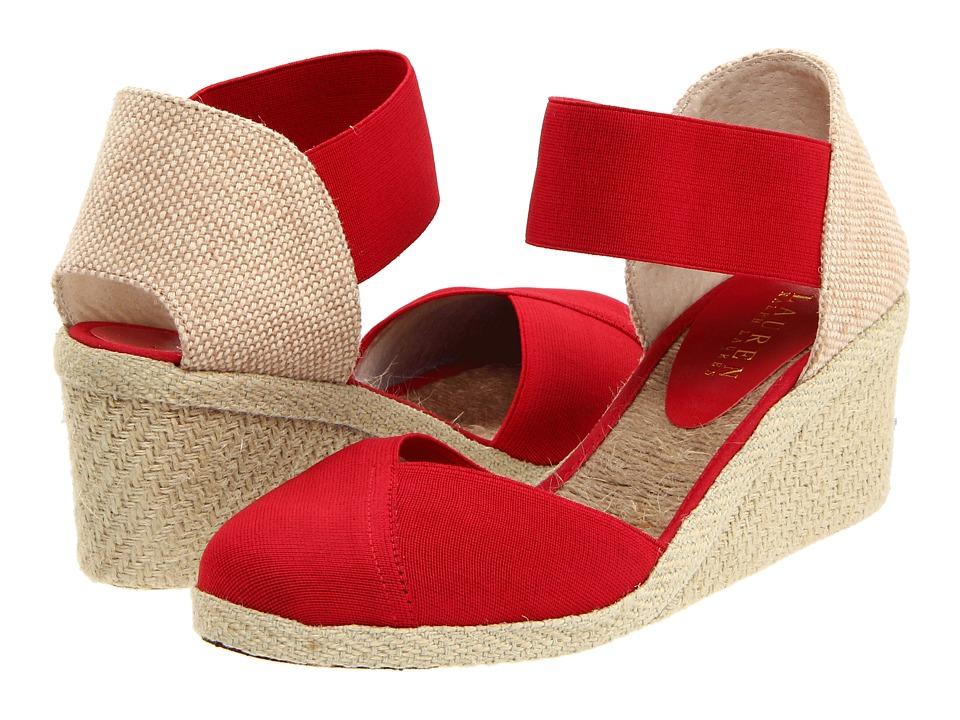LAUREN Ralph Lauren Charla (Red Elastic) Wedge Shoes
