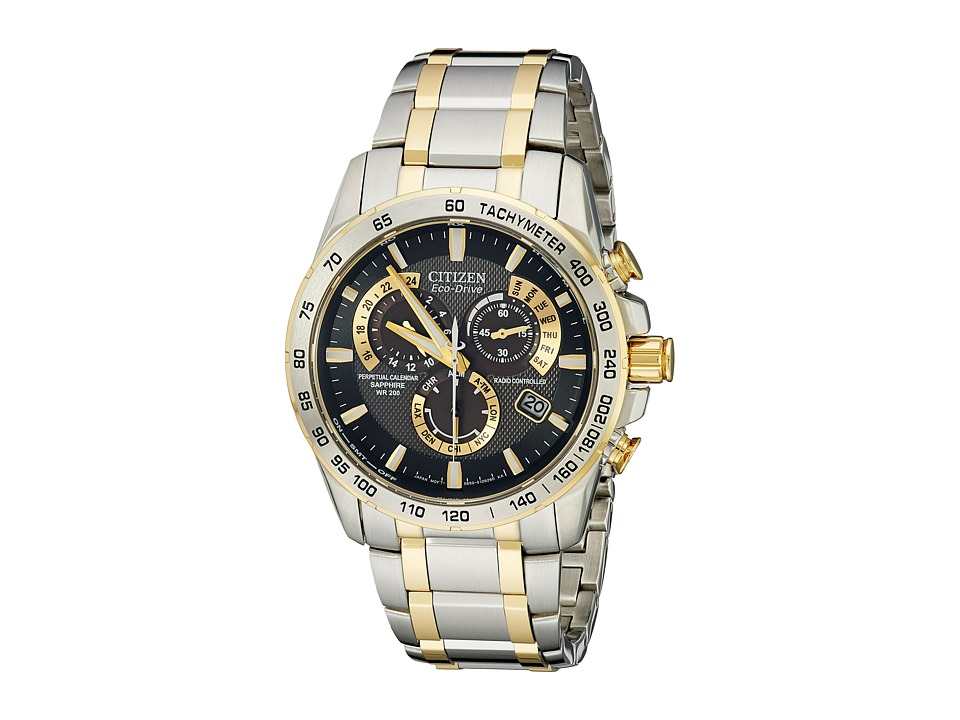Citizen Watches AT4004 52E Perpetual Chrono A T Watch Two Tone Stainless Steel/Black Watches