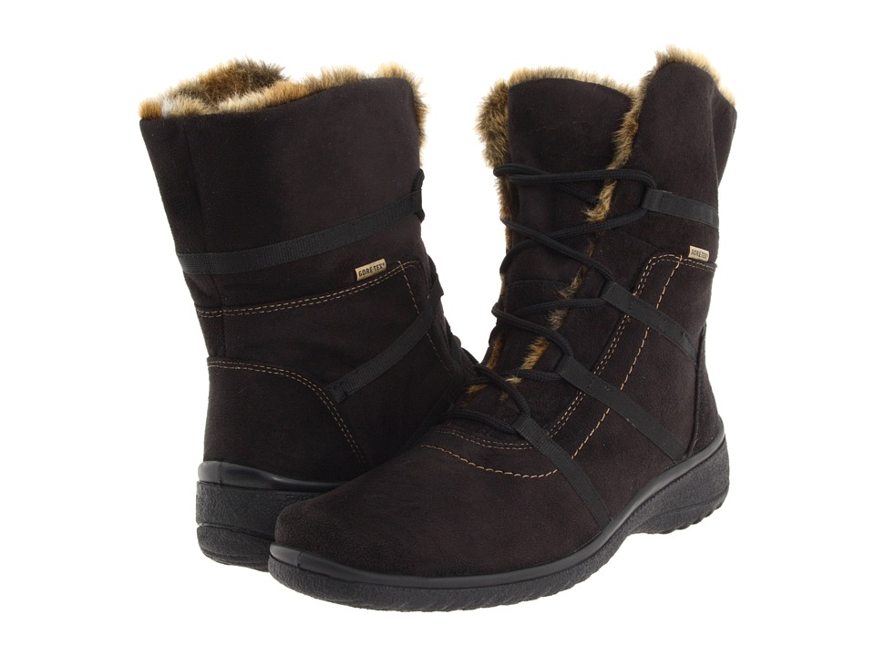 ara Magaly GORE-TEX (Black Synthetic Suede w/ Beige Fur Trim) Women
