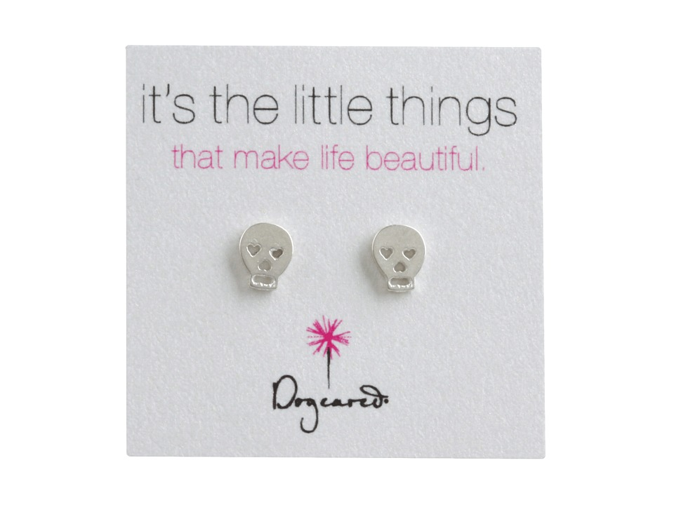 Dogeared Its The Little Things Earrings Skull Silver Earring