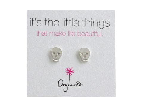 Dogeared It s The Little Things Earrings Skull - Silver