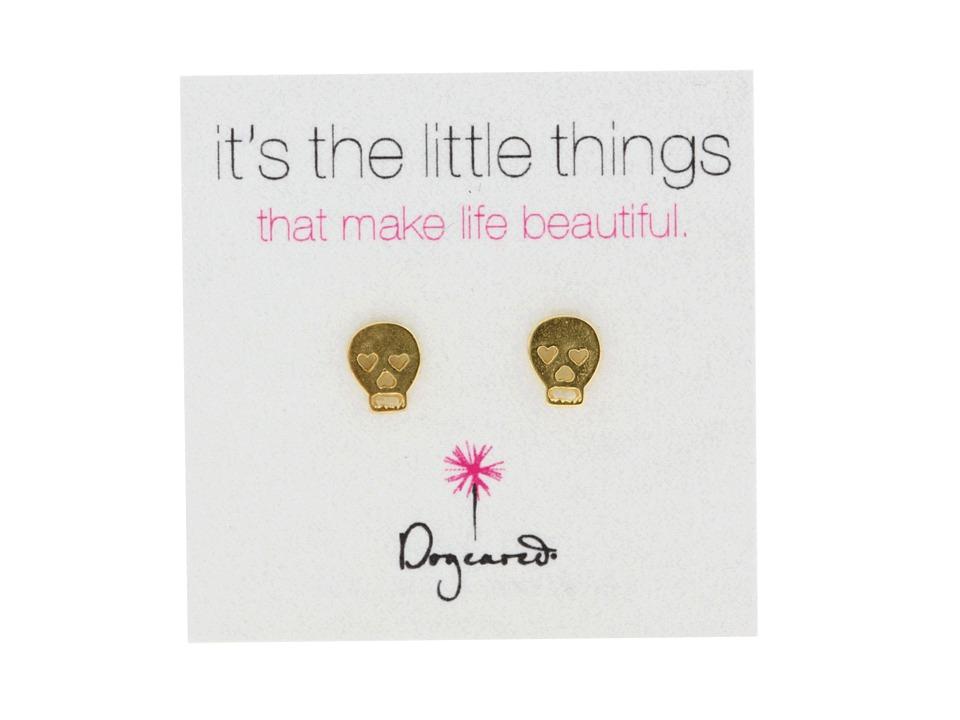 Dogeared Its The Little Things Earrings Skull Gold Earring