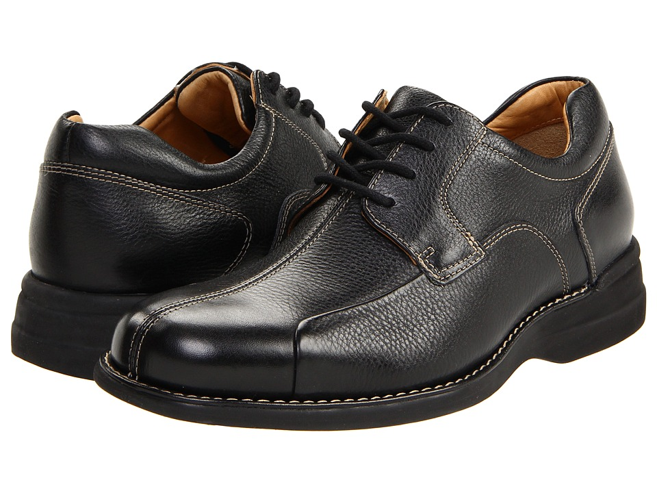 Johnston & Murphy - Shuler Bike (Black Tumbled Grain) Mens Plain Toe Shoes