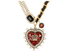Betsey Johnson - Royal Engagement Big Heart Crown Necklace (Red/Gold) - Jewelry