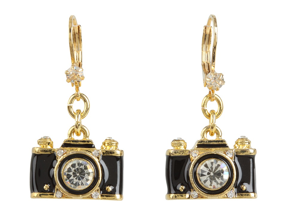 Betsey Johnson - Royal Engagement Camera Stud Earrings (Black/Gold) Earring