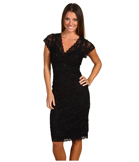 Shop Christin Michaels online and buy Christin Michaels Cassandra Black-Black Online - Christin Michaels - Cassandra (Black/Black) - Apparel: Plan an evening of elegance and step into the spotlight with this stunning rsvp dress. ; Allover beaded sparkles. ; V-neck. ; Cap sleeves. ; Tapered empire waist. ; Captivating tiered skirt. ; Straight hem with scalloped detail. ; 80% polyester, 20% spandex. Lining: 100% polyester. ; Dry clean only. ; Imported. Measurements: ; Length: 39 in ; Product measurements were taken using size 4. Please note that measurements may vary by size.