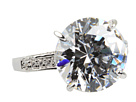 CZ By Kenneth Jay Lane - CZ Round Four Prong Ring (Clear/Silver) - Jewelry