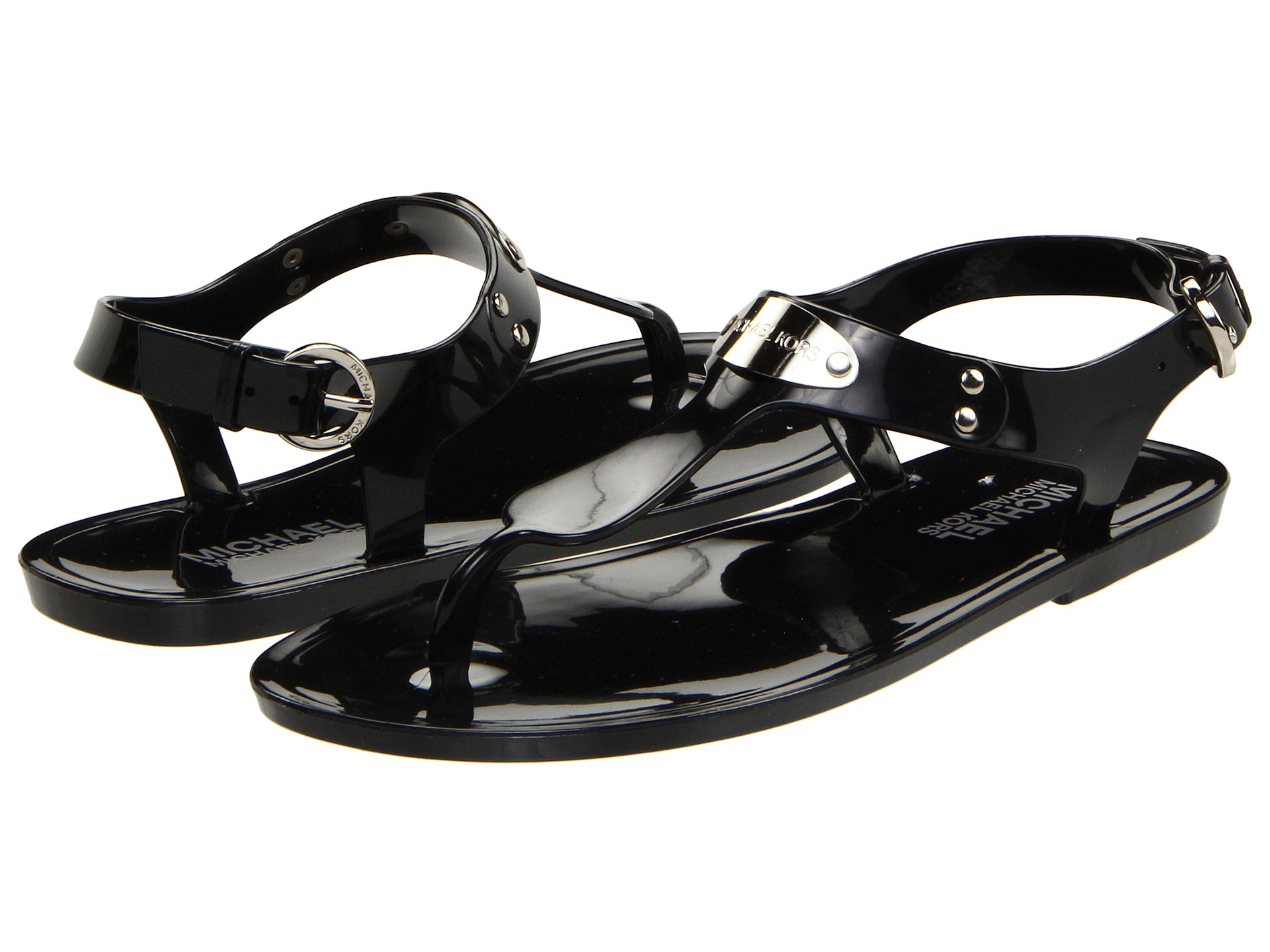 Black sandals michael kors - Michael Michael Kors Mk Plate Jelly Zappos Com Free Shipping Both Ways