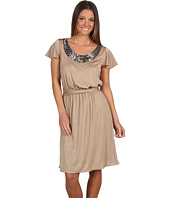 Tahari by ASL - Carlos S/S Dress w/ Necklace Trim