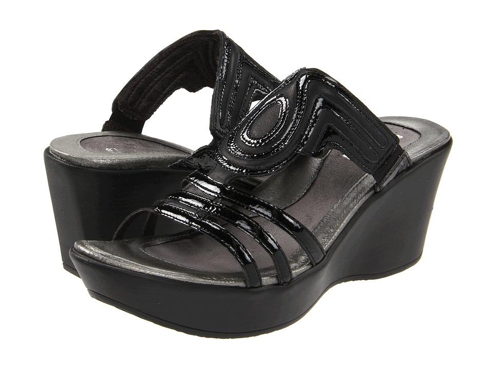 Naot Footwear Enchant Black Raven Leather/Black Crinkle Patent Leather Womens Sandals
