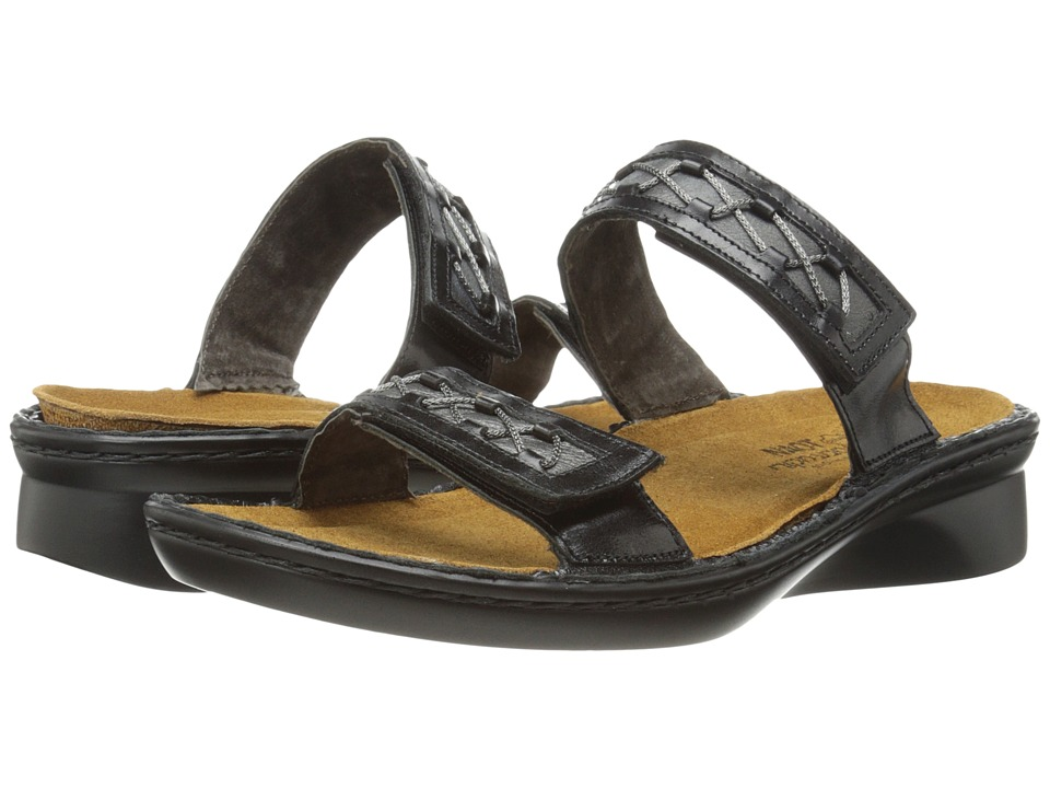 Naot Footwear Sound Black Madras Leather/Metallic Road Leather Womens Sandals