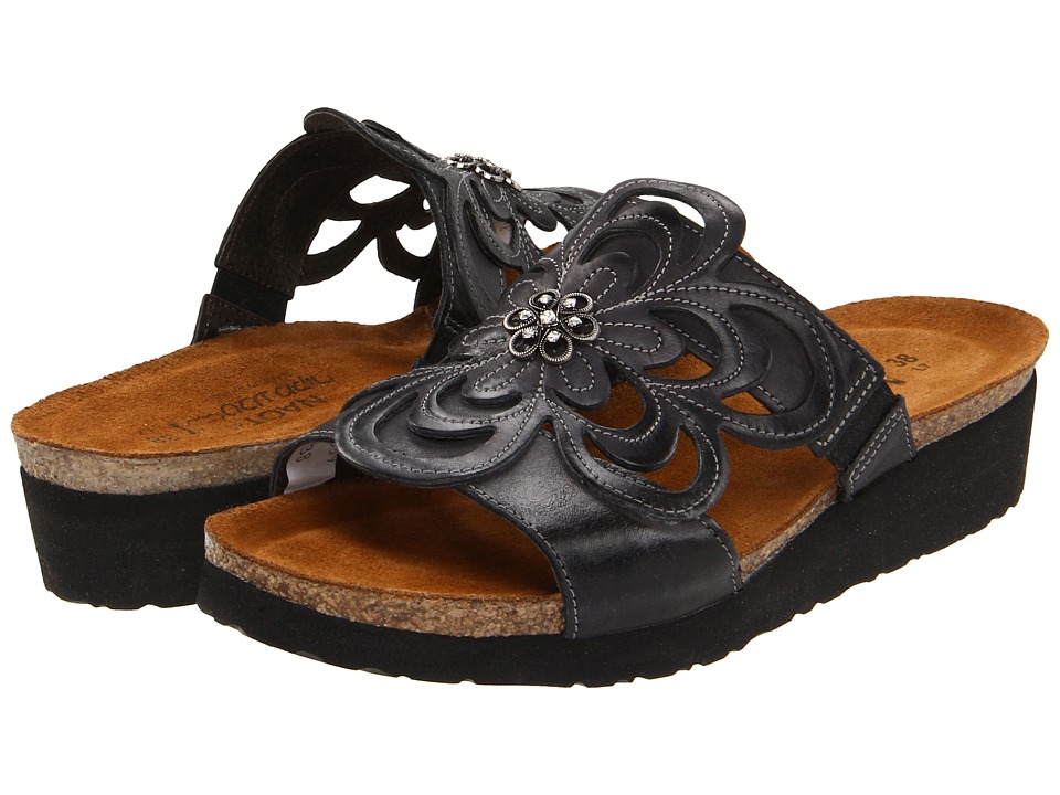 Naot - Sandy (Brushed Black Leather) Womens Sandals