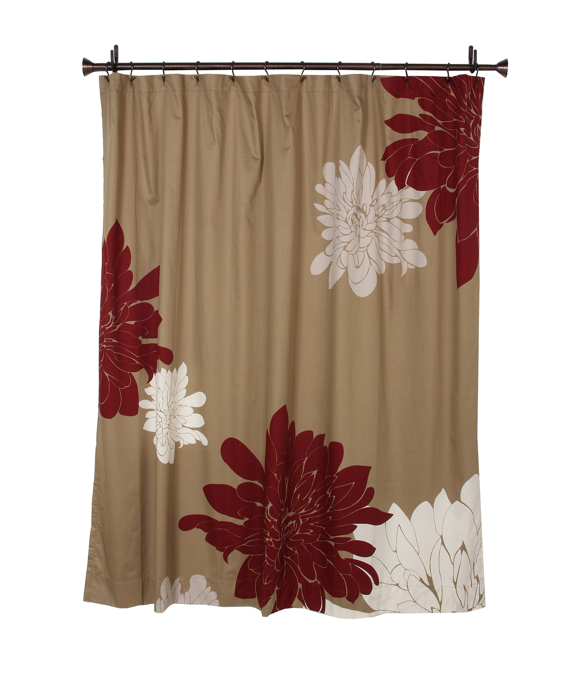 Red Black Grey Horizontal Stripe Fabric Shower Curtain .