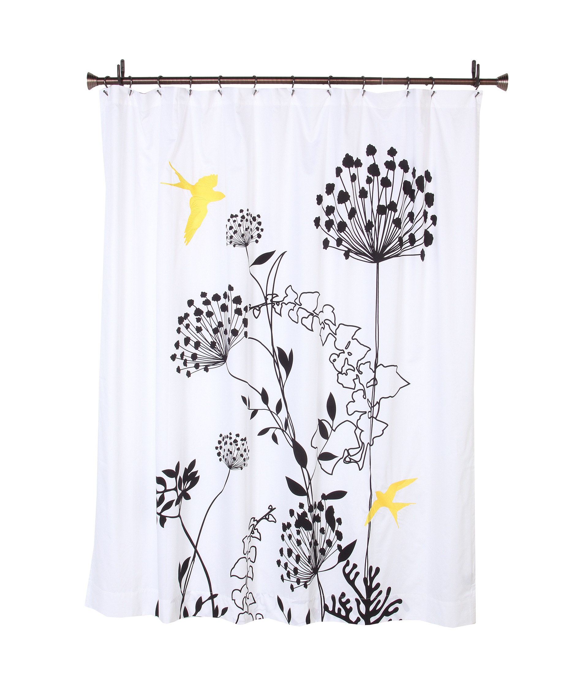 Blissliving Home Anis Yellow Shower Curtain Black White