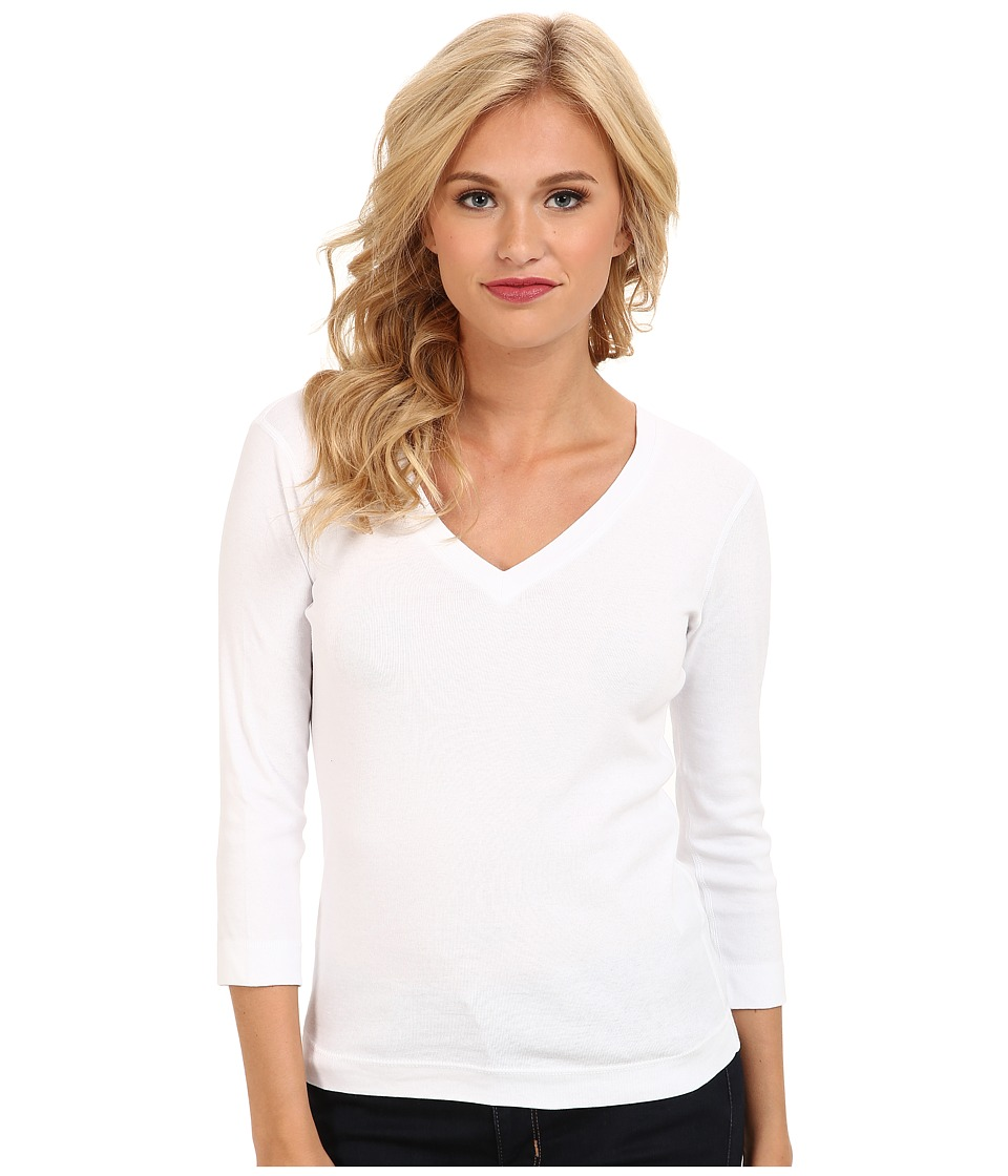 Three Dots 3/4 Sleeve Deep V-Neck (White) Women