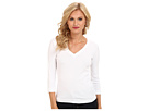 @Three Dots 3 4 Sleeve Deep V Neck White Apparel Shirts Tops AA4V003