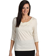 Jones New York - Petite 3/4 Sleeve Scoop Neck Knit Top w/Beads