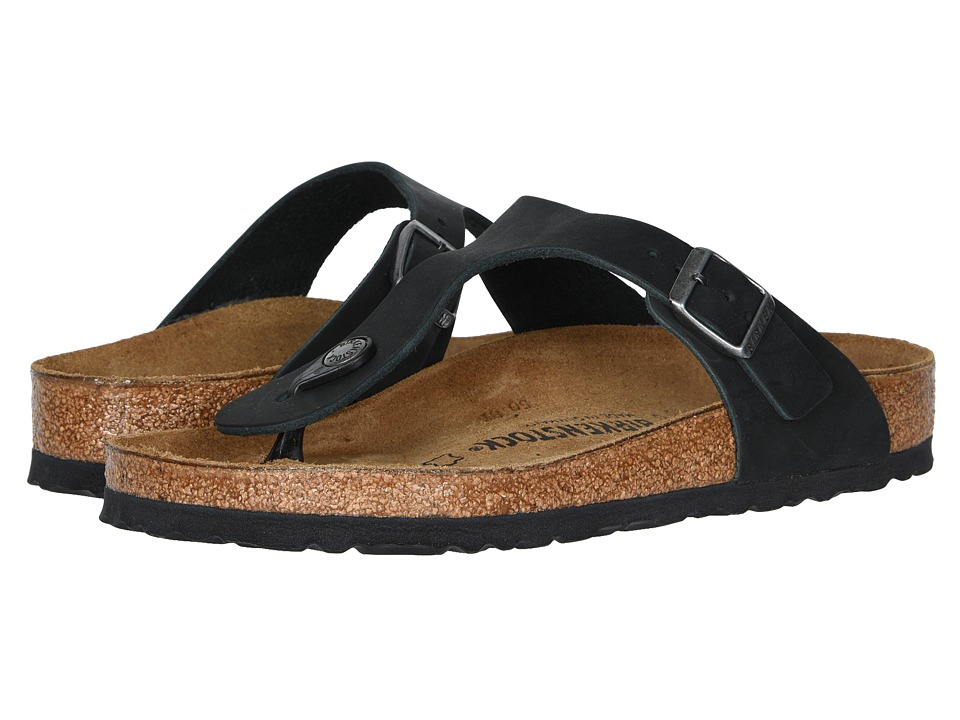 Birkenstock Gizeh Oiled Leather Black Oiled Leather Womens Sandals