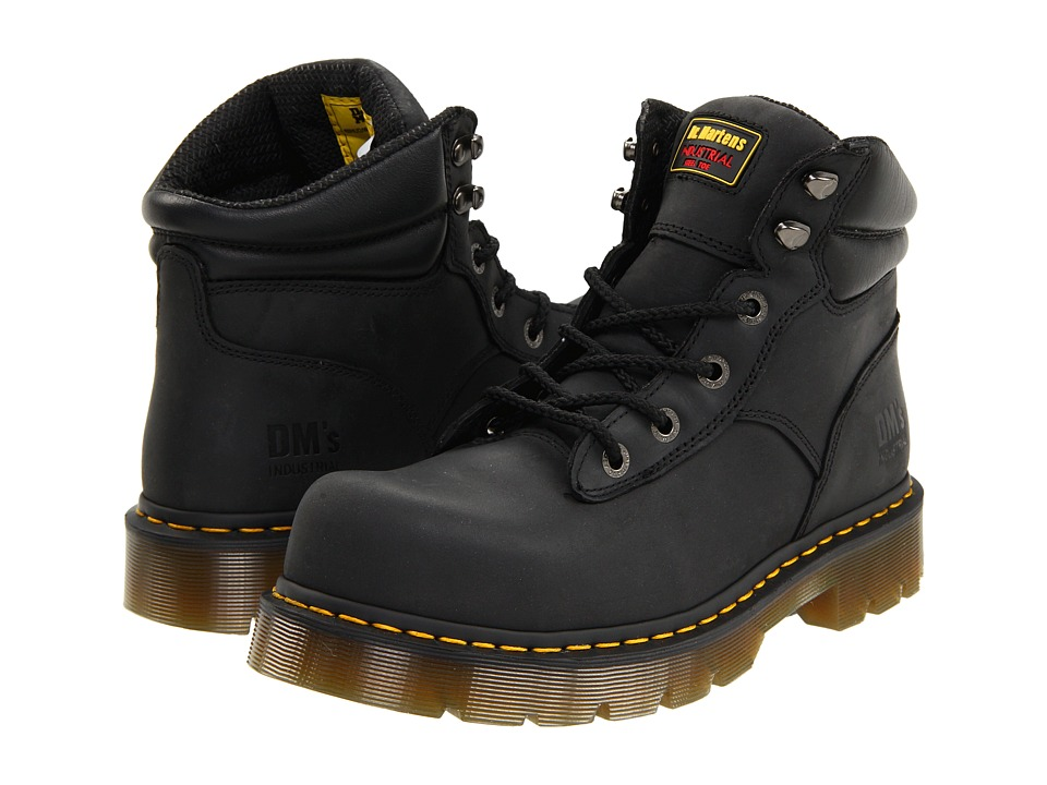 Dr. Martens Work Burnham ST 6 Tie Boot Black Industrial Greasy Work Lace up Boots