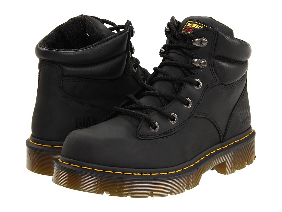 Dr. Martens Work Burnham NS 6 Tie Boot Black Industrial Greasy Work Lace up Boots