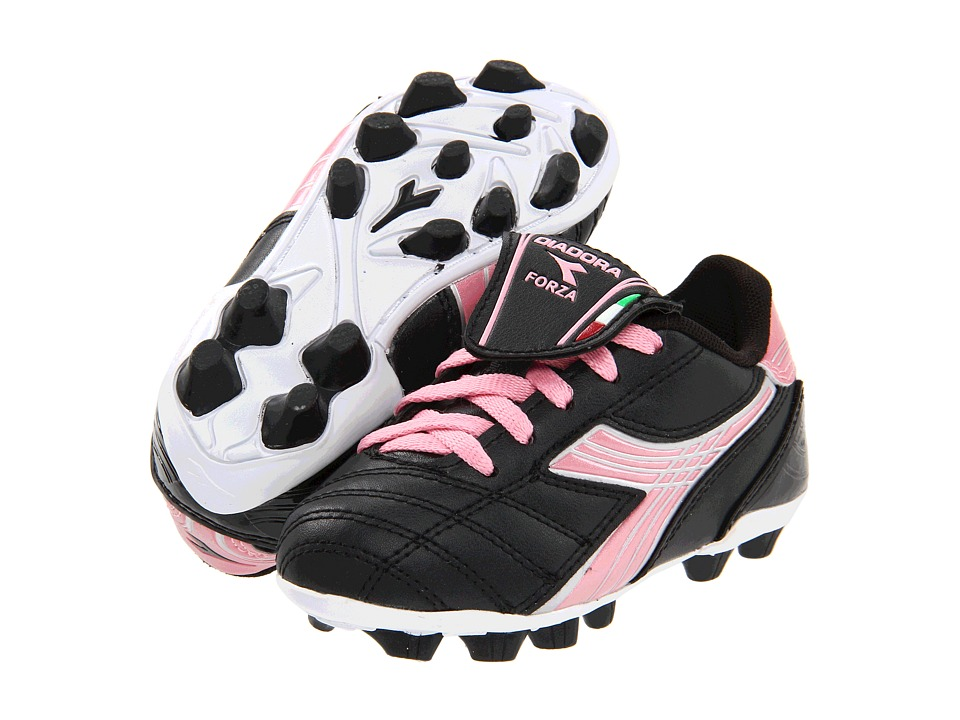 Diadora Kids Forza MD Jr Soccer Toddler/Little Kid/Big Kid Black/Pink Girls Shoes
