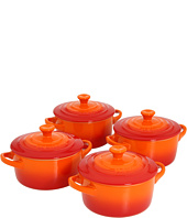 Le Creuset - Set of 4 Stoneware Cocottes w/ Cookbook