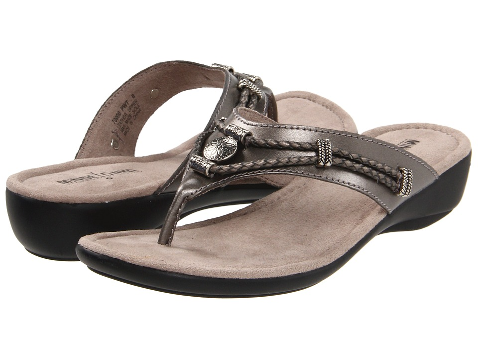 Minnetonka - Silverthorne Thong (Pewter) Women's Sandals