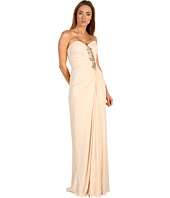 Badgley Mischka - Strapless Brooch Jersey Dress