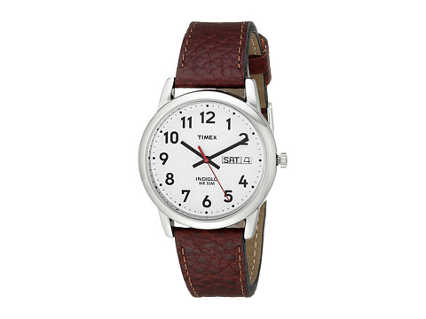 Timex Easy Reader Brown Leather Watch #T20041 - Silver