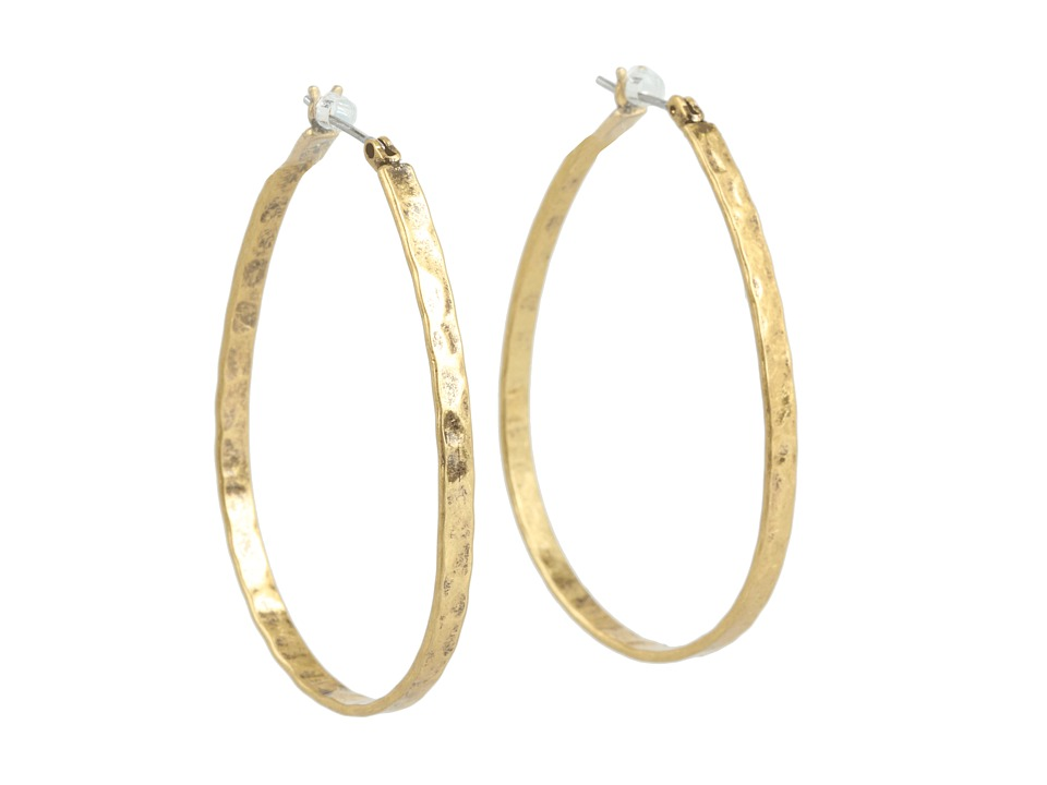 Lucky Brand - Textured Medium Oblong Hoops (Gold) Earring